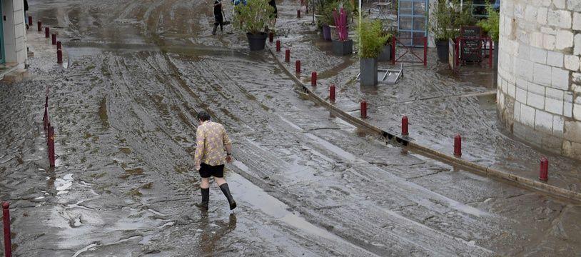 Une rue d'Anduze dans le Gard, après les inondations le 19 septembre 2020.