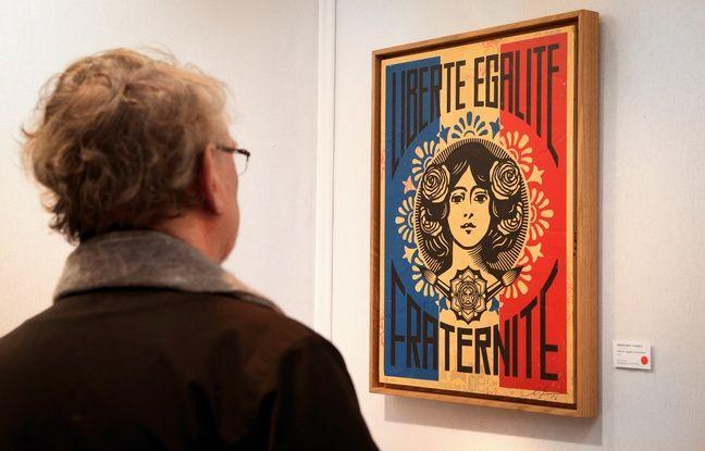 Oeuvre de Shepard Fairey. Galerie Itinerrance. St-Art, foire européenne de l'art contemporain. Strasbourg le 17 novembre 2017.