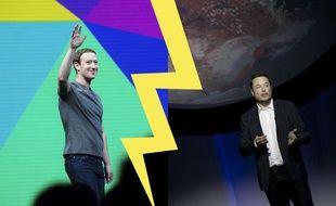Mark Zuckerberg (gauche) Elon Musk (droite)