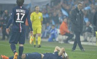David Luiz s'est blessé à une cuisse lors d'OM-PSG (2-3), le 5 avril 2015.
