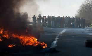 Manifestation d'éleveurs, ici près de Guingamp, le 22 janvier 2016.