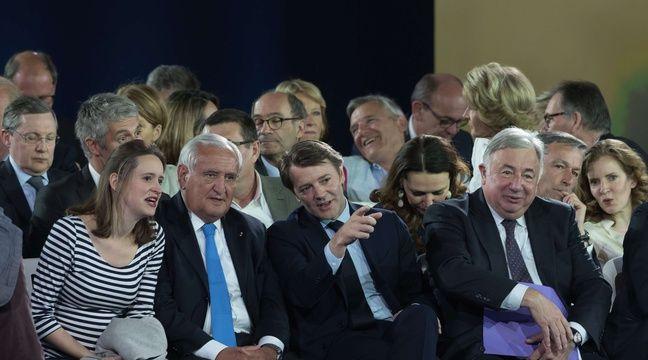 Madeleine de Jessey (à gauche), vice-présidente de Sens Commun, aux côtés de Jean-Pierre Raffarin, François Baroin et Gérard Larcher au meeting de François Fillon à Paris le 9 avril 2017.  – Witt/SIPA
