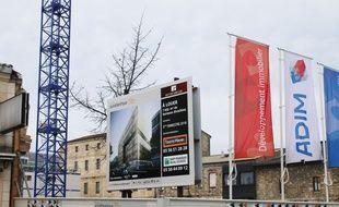 Le 2 février 2017, travaux de construction dans le secteur Euratlantique à Bordeaux