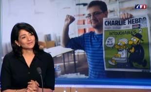 Jeannette Bougrab, sur le plateau du JT de 20h de TF1, à Paris, le 8 janvier 2015.