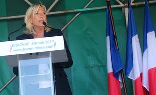 Marine Le Pen, présidente du Front National, le 30 août à Brachay (haute-Marne)
