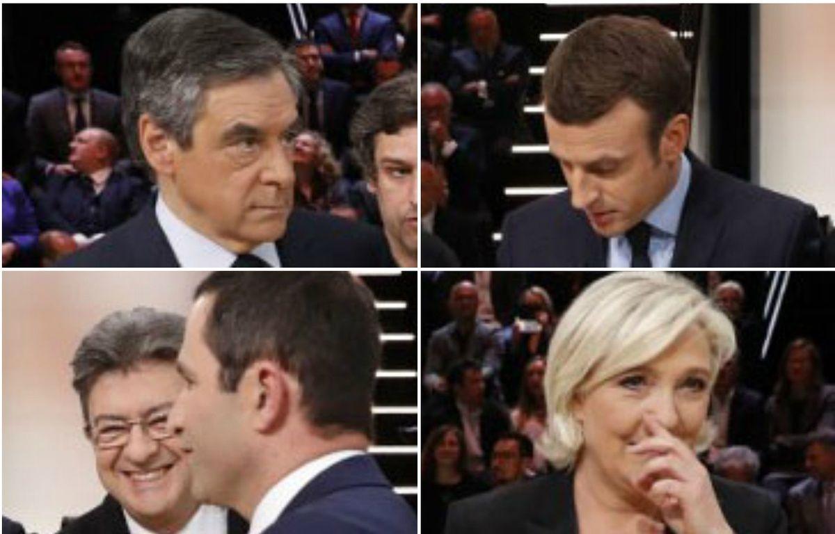 Les cinq candidats sur le plateau de TF1 avant le débat présidentiel du 20 mars 2017. – PATRICK KOVARIK / AFP