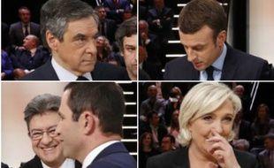Les cinq candidats sur le plateau de TF1 avant le débat présidentiel du 20 mars 2017.