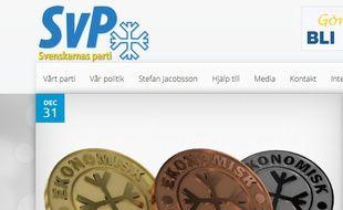 La page d'accueil du Svenskarnas Parti, le parti suédois d'extrême droite.