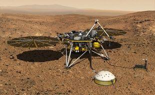 Image de synthèse de l'atterisseur InSight à son arrivée sur Mars et de son sismomètre SEIS.