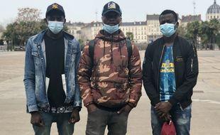 Bafode, Prince Junior et Idriss, le 31 mars 2021 à Nantes