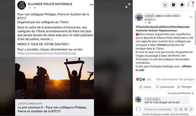Dans cette publication Facebook, un internaute accuse le syndicat policier Alliance, d'être à l'origine d'une cagnotte en soutien aux policiers de la BTC17 impliqués dans le passage à tabac de Michel Zecler