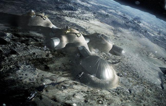 Une vue d'artiste du village lunaire sur lequel l'Agence spatiale européenne travaille.