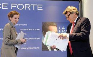 Nathalie Kosciusko-Morizet et Jean-Louis Borloo lors de la campagne présidentielle de Nicolas Sarkozy le 17 avril 2012.