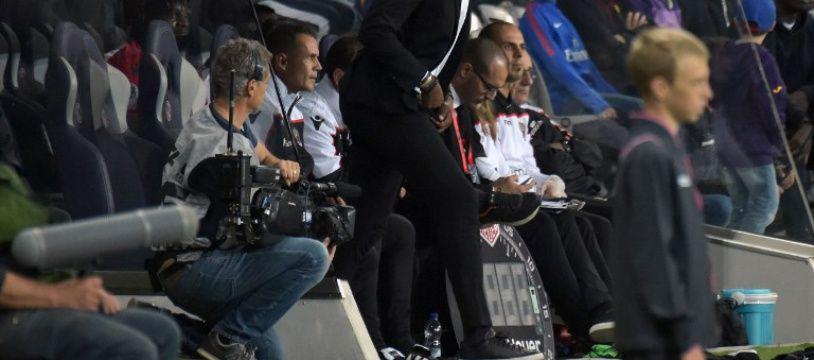 Patrick Vieira, l'entraîneur de l'OGC Nice, lors du match de Ligue 1 à Toulouse le 5 octobre 2018.