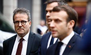 Emmanuel Macron,  Martin Hirsch et Olivier Veran, le ministre de la Santé