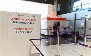 Un centre de dépistage Covid-19 à l'aéroport de Roissy, le 5 février 2021.