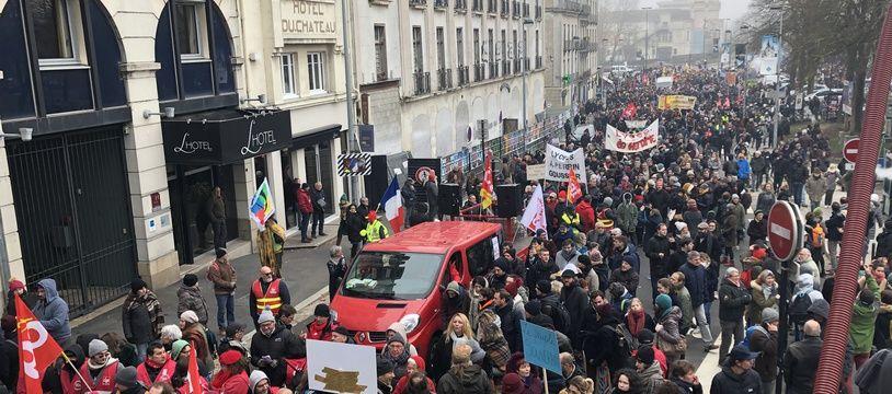 Le 5 décembre 2019 - La manifestation à Nantes a réuni 25.000 personnes