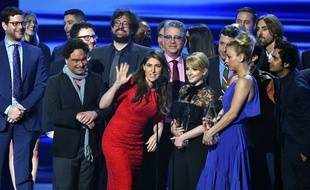 """The cast and crew of """"The Big Bang Theory"""" accept the award for favorite network TV comedy at the People's Choice Awards at the Microsoft Theater on Wednesday, Jan. 18, 2017, in Los Angeles. (Photo by Vince Bucci/Invision/AP)/CACJ257/17019174855084/011817118510, 21334631,/1701190732"""