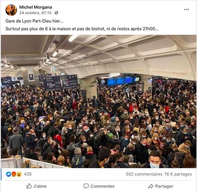 Capture d'écran du post montrant une foule agglutinée à la gare de Lyon Part-Dieu et devenu viral.