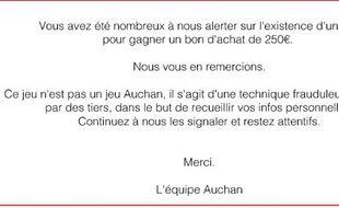 Le message du groupe Auchan à ses clients