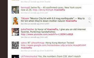 Capture d'écran des messages sur Twitter associés au mot-clé swine flu (grippe porcine)