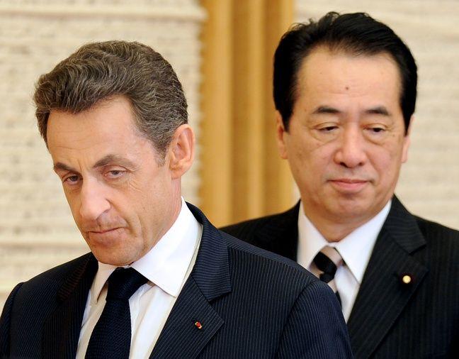Nicolas Sarkozy et le Premier ministre japonais Naoto Kan, à Tokyo le 31 mars 2011.
