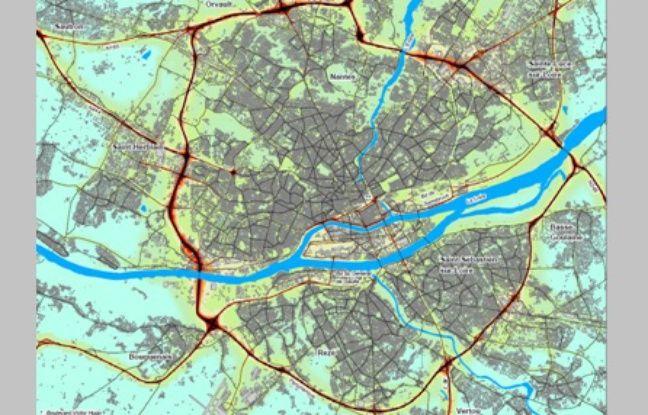 Moyennes annuelles de dioxyde d'azote à Nantes.