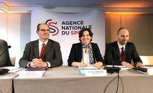 Jean Castex, Roxana Maracineanu et Frédéric Sanaur, lors du lancement de l'Agence nationale du sport le 24 avril 2019 au Stade de France.