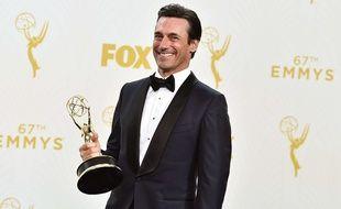 Jon Hamm a remporté l'Emmy du meilleur acteur dans une série dramatique pour «Mad Men», le 20 septembre 2015.