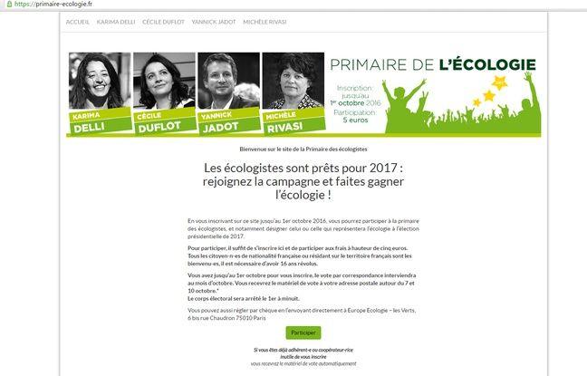 Capture d'écran du site https://primaire-ecologie.fr/