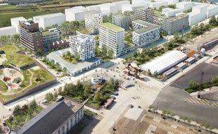 Image de synthèse du futur quartier jouxtant l'actuel parc des chantiers.