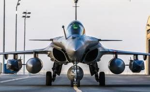 Un Rafale français lors d'un raid de la coalition internationale contre l'EI en Syrie