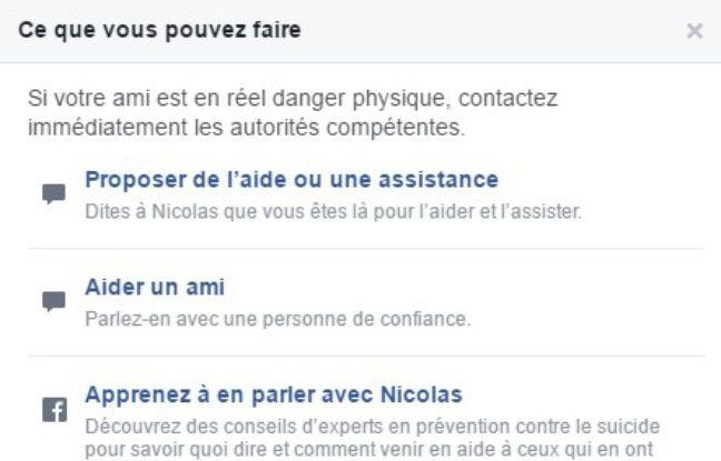 Facebook propose de venir en aide à un ami qui menace de se faire du mal
