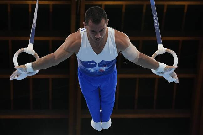 Le biceps gauche d'Aït Saïd bandé lors de l'épreuve olympique.