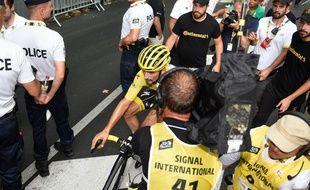 Julian Alaphilippe lors de l'arrivée de la 17e étape du Tour de France, le 24 juillet 2019.