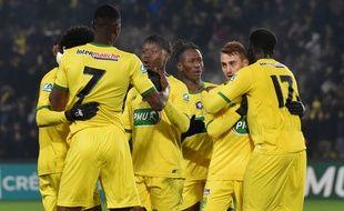 Les joueurs du FC Nantes, lors de la victoire contre Châteauroux en 32e de finale de Coupe de France.