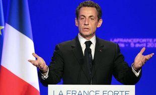 Nicolas Sarkozy lors de la présentation de son projet, le 5 avril 2012, à Paris.
