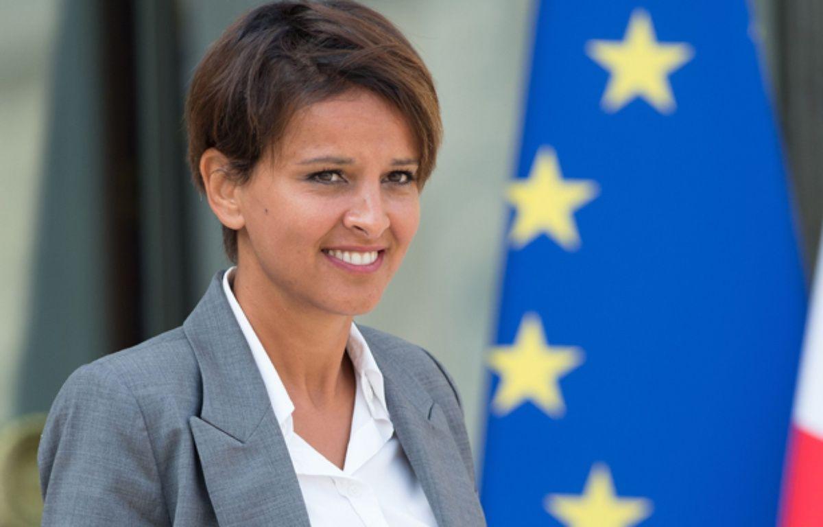 Najat Vallaud-Belkacem sortant de l'Elysée, le 20 août 2014. –  NIVIERE/SIPA