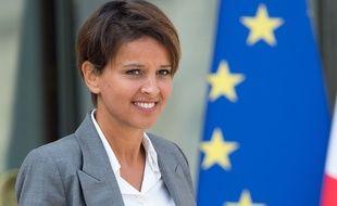 Najat Vallaud-Belkacem sortant de l'Elysée, le 20 août 2014.