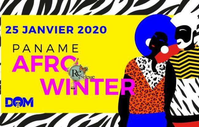 Illustration colorée sur fond zébré pour le Paname Afro Winter market