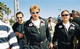 Johnny Hallyday et André Boudou en 2001 lors d'un rallye en Tunisie.