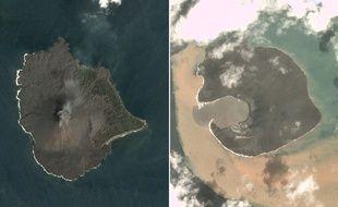 Images avant (17 décembre 2018) et après (30 décembre) l'éruption de l'Anak Krakatoa, en Indonésie.
