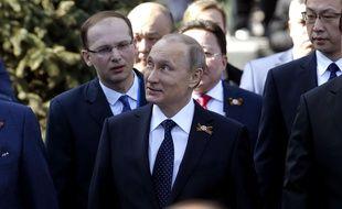Vladimir Poutine à l'occasion de la parade militaire pour célébrer la victoire russe sur l'Allemagne nazie, le 9 mai 1945.