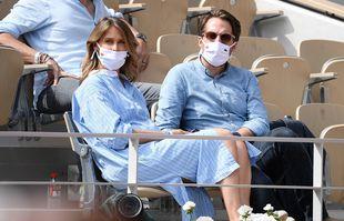 Ophélie Meunier et son mari, le 9 juin 2021, à Roland-Garros.