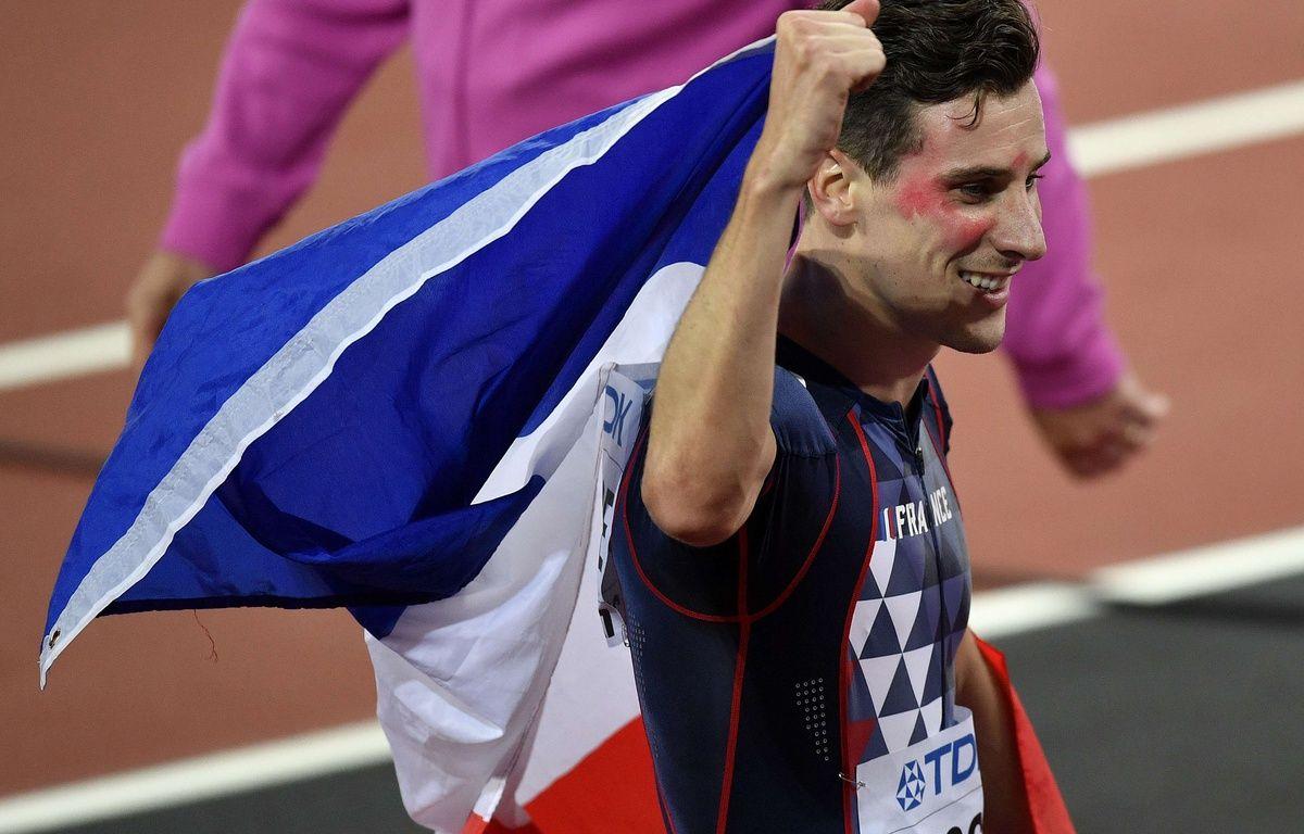 Pierre-Ambroise Bosse, rouge de joie après sa victoire en finale du 800m, aux Mondiaux de Londres,  – Martin Meissner/AP/SIPA