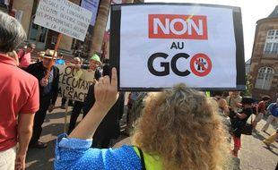 Des opposants au GCO devant l'hôtel du préfet où se tenait la réunion du Coderst. Strasbourg le 28 aout 2018.