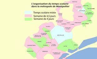 La répartition du temps scolaire dans les 31 communes de la métropole de Montpellier.