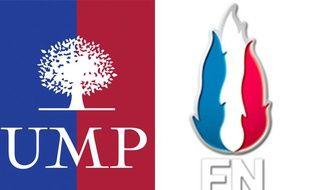 Les logos de l'UMP et du FN.