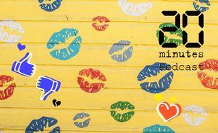 Illustration de traces de bouches, de baisers sur un fond uni jaune