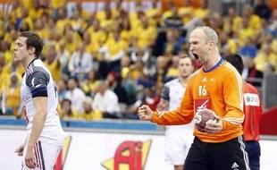 Thierry Omeyer exulte lors de France-Suède (27-25) aux Championnats du monde de handball au Qatar. - 24 janvier 2015
